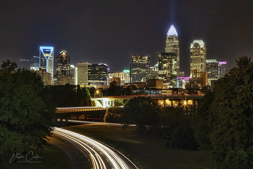 charlotte northcarolina longexposure light night evening cityscape nightscape lines traffic interstate bridge