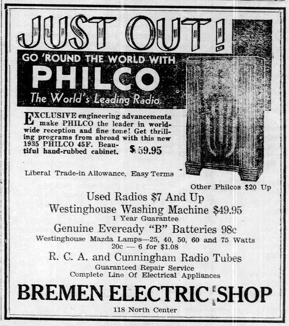 1935 - Bremen Electric Shop at 118 N Center - Enquirer - 7 Mar 1935