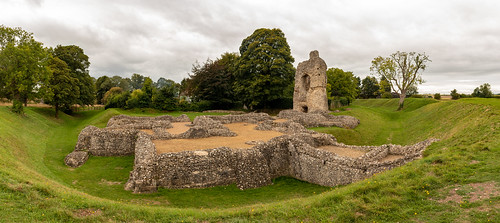 ludgershall castle andover wiltshire ruins remains ancient building architecture english heritage earthwork stonework fort grass tree ditch sky fortification panorama photomerge landscape