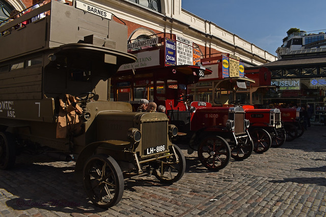 Four B-Types outside the London Transport Museum