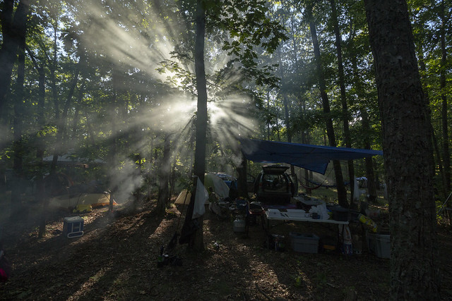 Crepuscular rays at campsite, TAG Fall Cave-In 2013, Little River Preserve, Lookout Mountain, Georgia