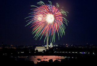Washington, D.C. July 4th fireworks. Original image from Carol M. Highsmith's America, Library of Congress collection. Digitally enhanced by rawpixel.
