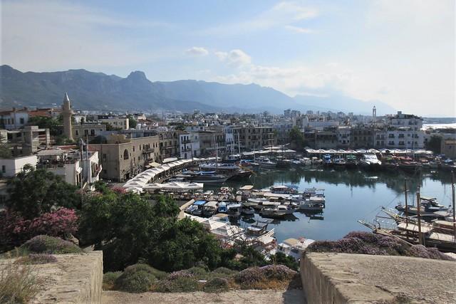 Harbor, town, and mountains from atop Kyrenia Castle, Kyrenia / Girne, Cyprus
