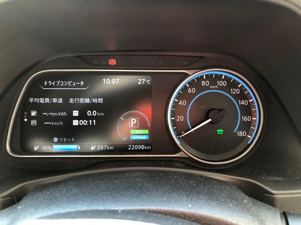 日産グローバル本社出発時 日産リーフ(40kWh)メーター エアコンON