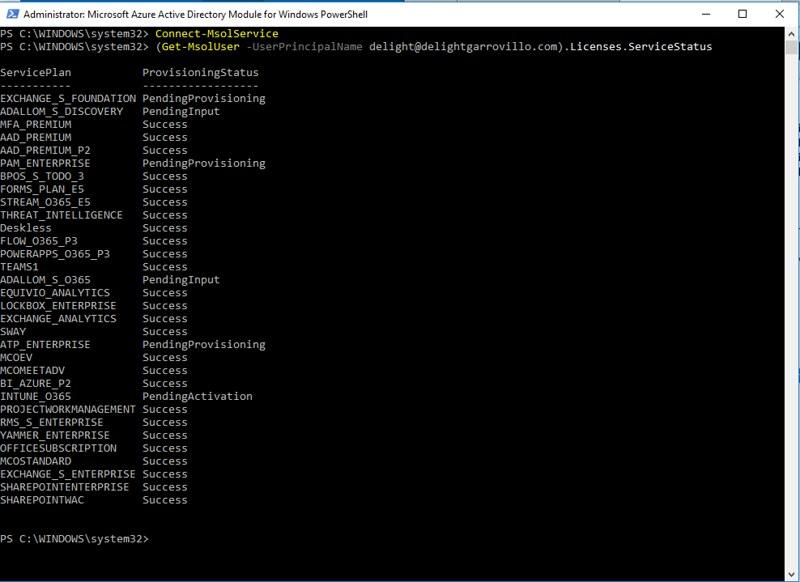 Get-MsolUser.Licenses.ServiceStatus