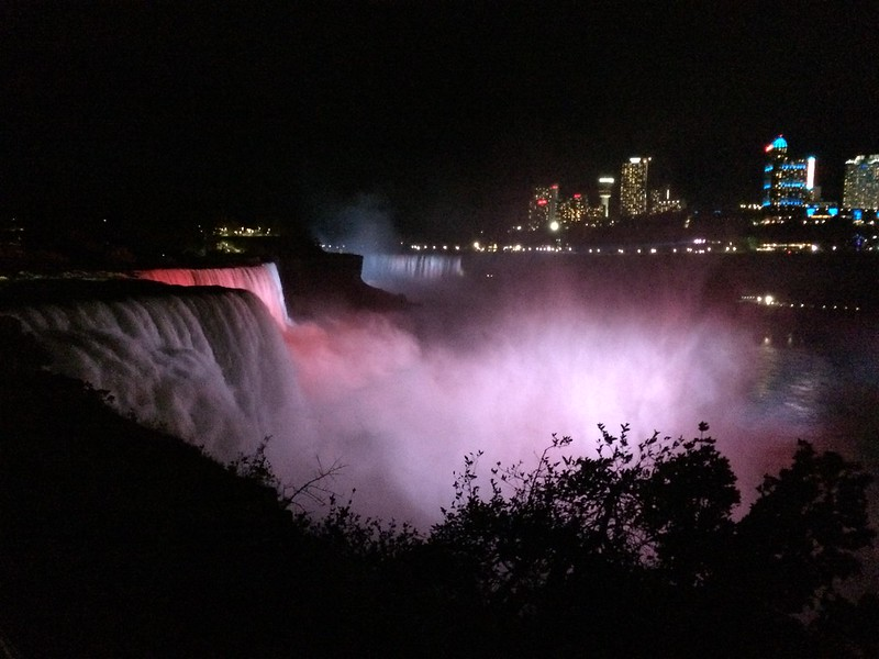 Night at Niagara Falls on the American side