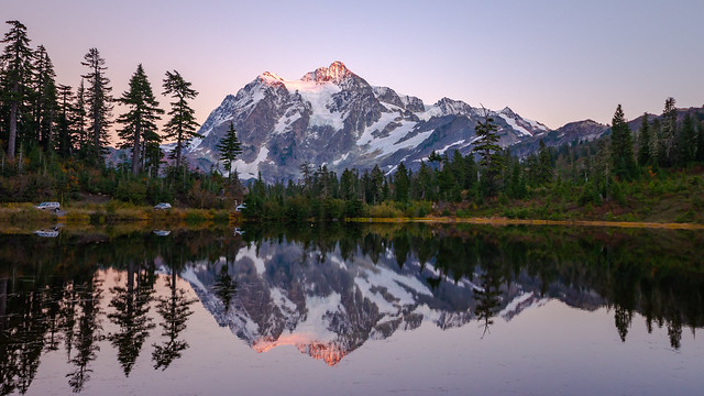 Mt Shuksan reflection in Picture Lake