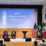 Thu, 09/20/2018 - 14:17 - On Thursday, September 20, 2018, the William J. Perry Center for Hemispheric Defense Studies honored General Salvador Cienfuegos Zepeda, Secretary of National Defense of Mexico, and Escola Superior de Guerra (ESG), National War College of Brazil, with the 2018 William J. Perry Award for Excellence in Security and Defense Education. Named after the Center's founder, former U.S. Secretary of Defense Dr. William J. Perry, the Perry Award is presented annually to individuals who and institutions that have made significant contributions in the fields of security and defense education. From the many nominations received, awardees are selected for achievements in promoting education, research, and knowledge-sharing in defense and security issues in the Western Hemisphere. Awardees' contributions to their respective fields further democratic security and defense in the Americas and, in so doing, embody the highest ideals of the Center and the values embodied by the Perry Award.