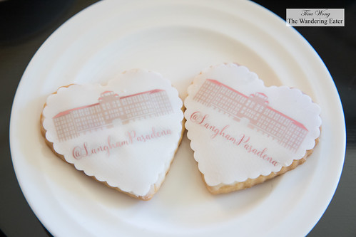 Sugar cookies topped with fondant imprinted with Langham Pasadena's hotel image   by thewanderingeater