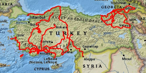 The bicycle touring I've done in Turkey through the end of 2017 by bryandkeith on flickr