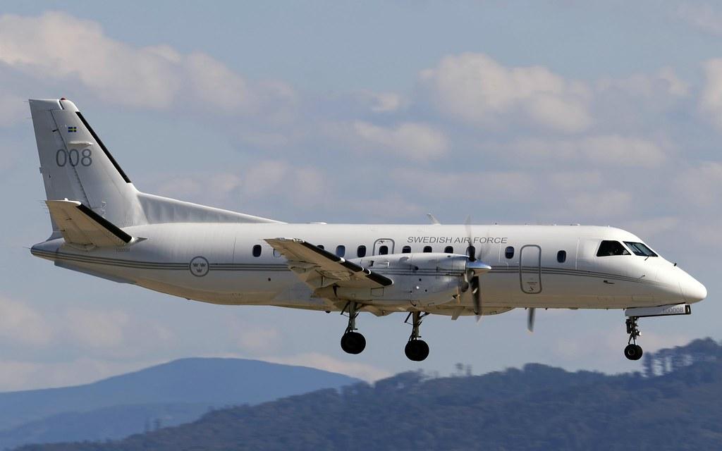 "Swedish ""Open Sky"" - Airplane Saab 340B approaching LKMT"