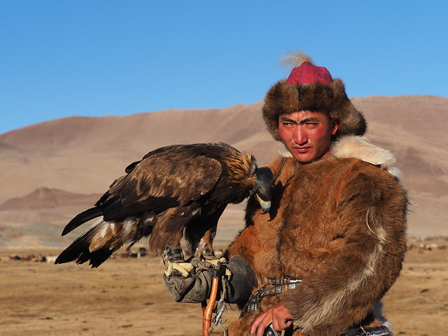 Nurasil Asilbec 26 year-old, learnt the art of training an eagle from his father