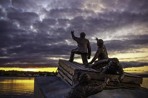 sunset port sea sculpture clouds fall water bay novascotia capebreton sydney