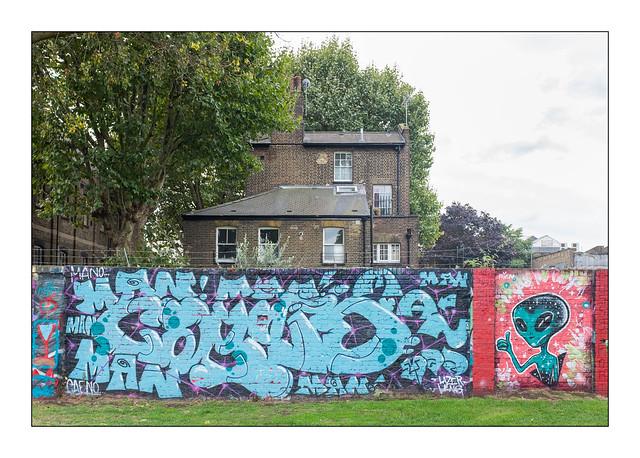 Street Art (Lazer Leng), East London, England.