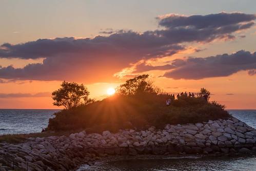 landscape sunset peninsula theknob quissettharbor capecod massachusetts water ocean clouds sky gseloff