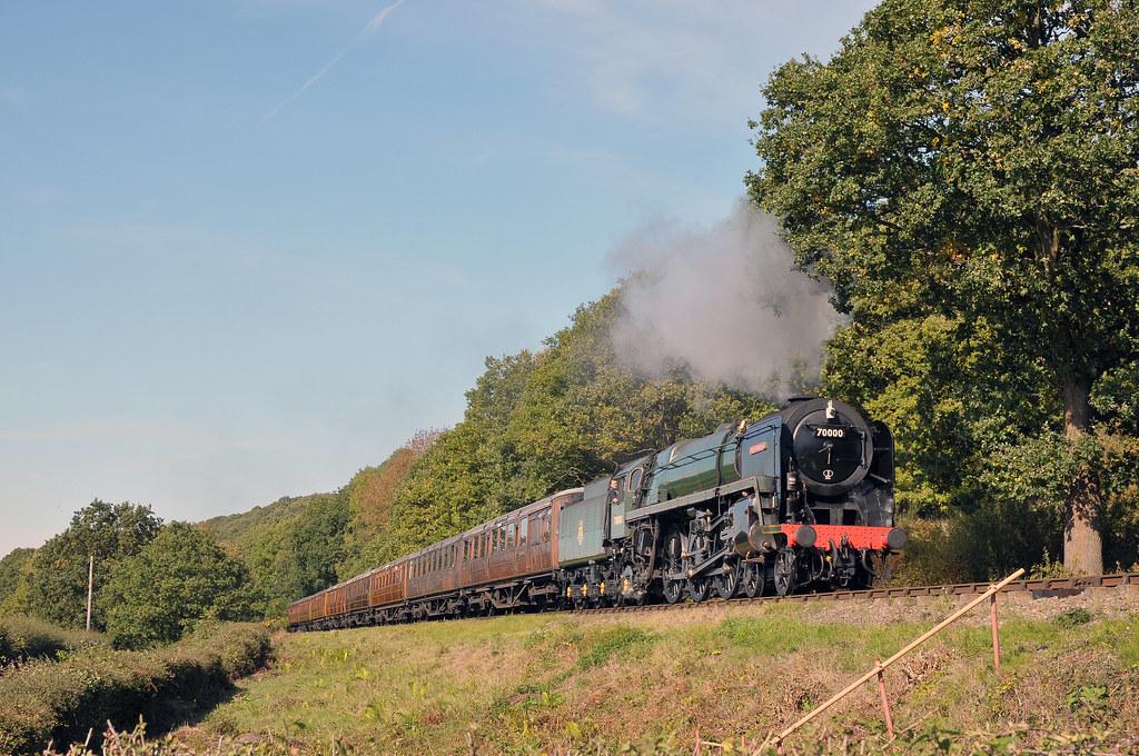 Visiting Steam locomotive No  70000 'Britannia' heads for