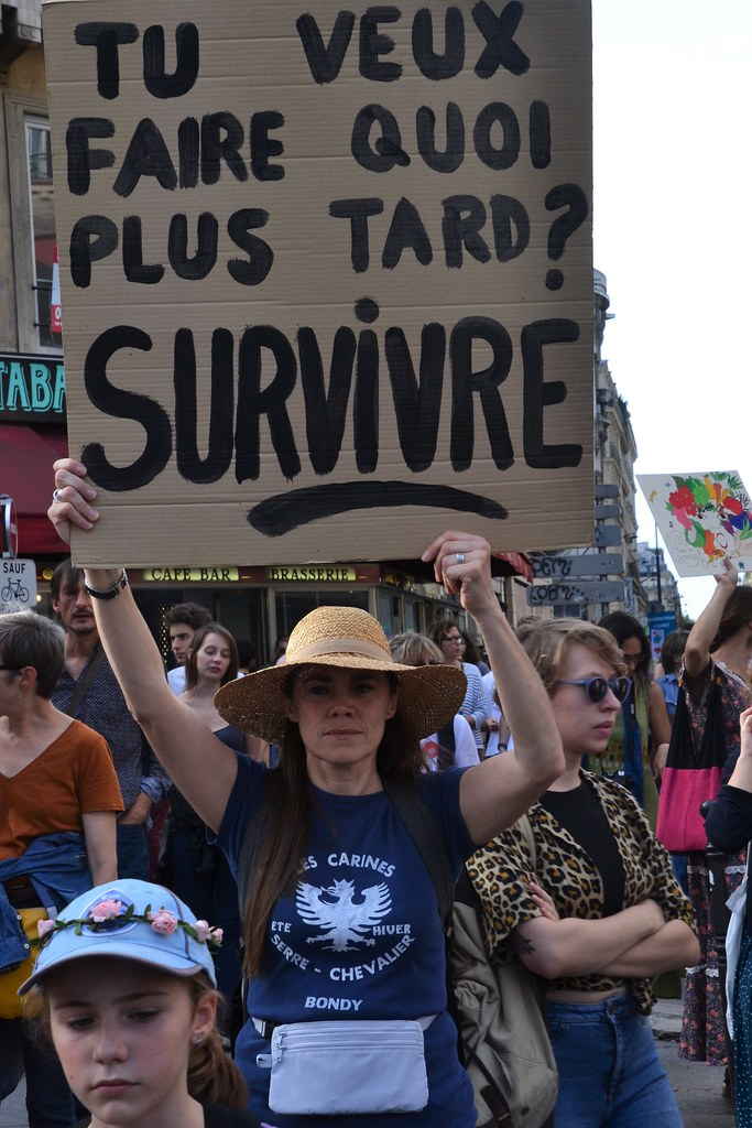 Climate change protesters march in Paris streets