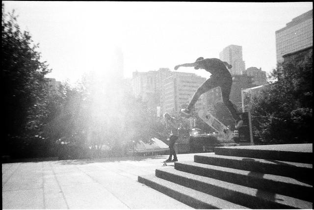 Skater Doing Jumps. Lomography Simple Use Camera.