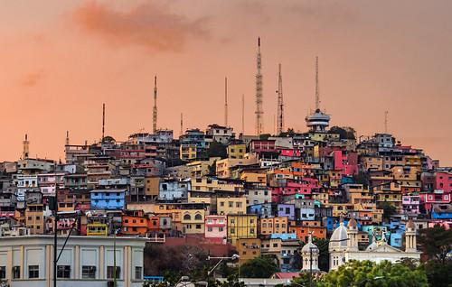 colina sunset colorful hill guayas guayaquil city antenna