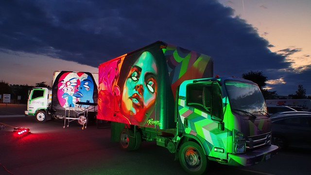 Kizmet32 - dual-truck light-and-paint installation, Kizmet Gabriel - Nuit Blanche 2018, Toronto ..