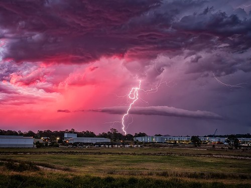 storm storms lightning bolt sunset colors color colour colours pink red light redbank ipswich queensland australia olympus omd em5markii 1240mm murrayfox