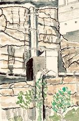 Cliff face plumbing, Harold Park, Glebe. Watercolour, October 2018