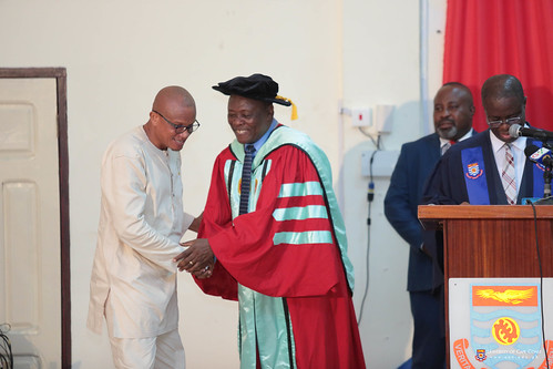 Prof Oduro being acknowledged by Dr. Mustapha Abdul-Hamid, Minister for Inner City and Zongo Development