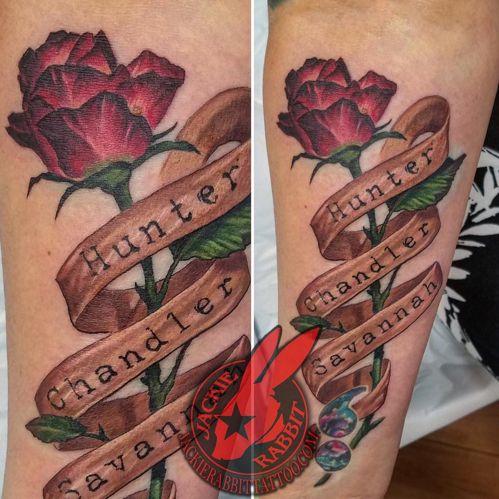 Rose Bud Longstem Stem Leaf Red Burgundy Banner Name Names Font Lettering Child Daughter Mother Color Best Real Realistic 3d Tattoo By Jackie Rabbit A Photo On Flickriver