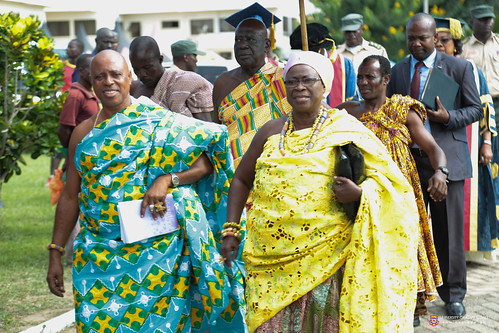 In front from left to right: Nana Kwaku Ennu III, Chief of Kokoado, UCC and Nana Amba Eyiabah, Krontihema of Oguaa Traditional Area, in Council's procession to the congregation grounds