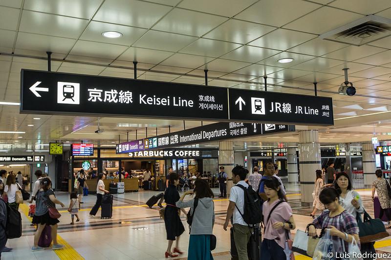 Información en Narita de las líneas JR y Keisei