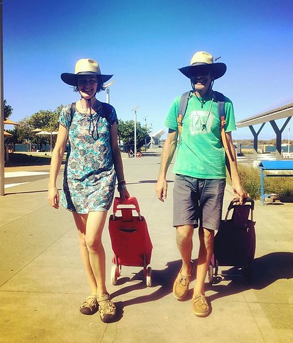 217/365 • a photo of M and I in our matching ex-Commonwealth Games op-shop hats, hitting our stride and busting our arses to pull it all together in order to leave for Lord Howe Island in the morning. It's at least a two night passage, but compared to Van | by miaow