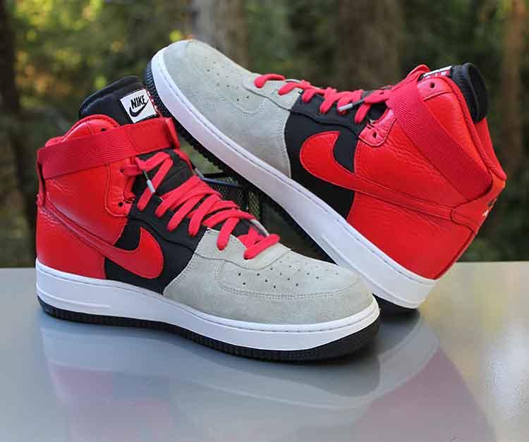 watch eba32 6dab7 Nike Air Force 1 High LV8 Wolf Grey Red Black 806403-007 M ...