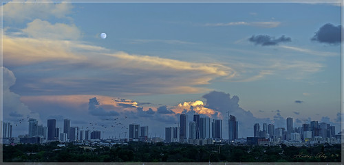 cityscapes city colors clouds moon exploration urbanexploration outdoors blue thebluehour miamifl miamicity architecture building allapattah midtownmiami