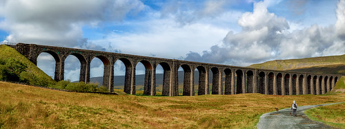 ribblesheadviaduct yorkshire north grass sky clouds arches path countryside ingleton