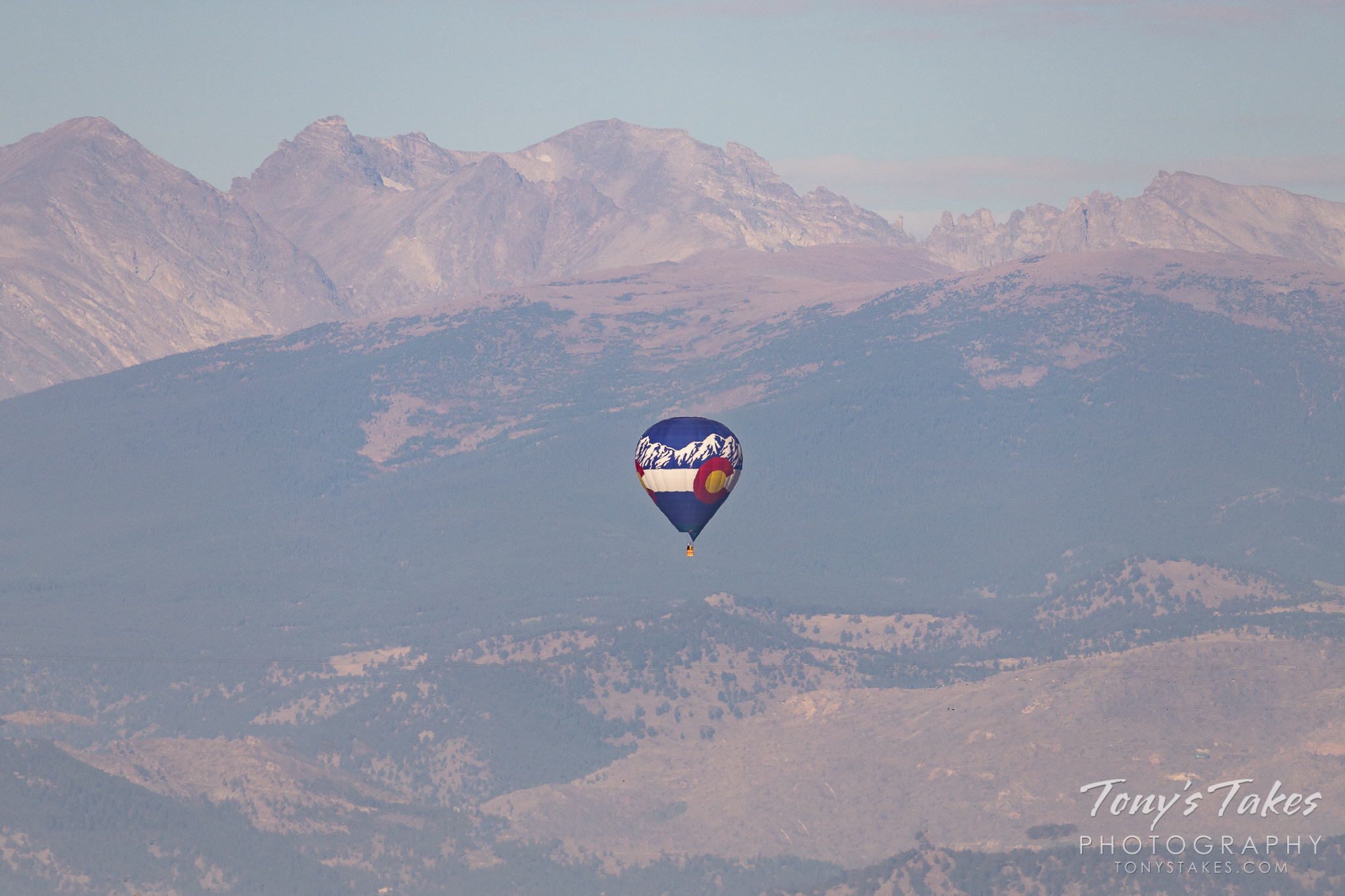 Colorado's Rocky Mountains and a Centennial State balloon