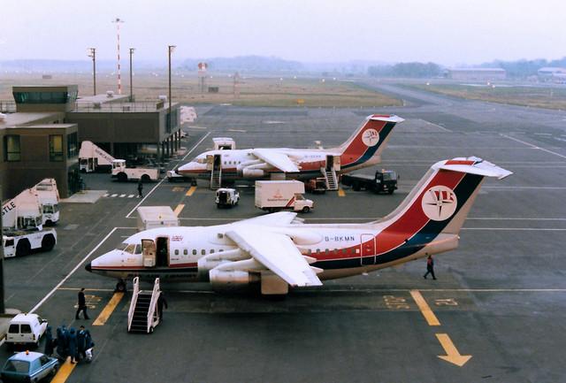 G-BKMN BAe 146-100 cn E1006 Dan Air Newcastle 02Feb89