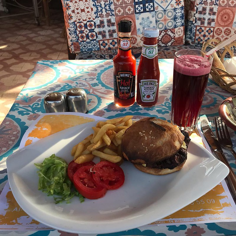 Homemade Camel Burger, As-Sahaby Lane Restaurante & Café, Nefertiti Hotel, Luxor, Egypt.