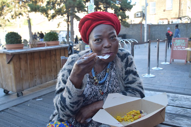DSC_1213 Dalston London Gillett Square Kaffa Coffee with Gifty from Ghana eating Ethiopian Food