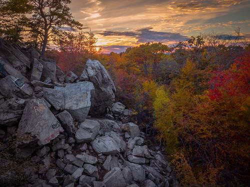 eastfreetown massachusetts unitedstates us drone mavicpro profilerock rock outcropping sunset fallfoliage