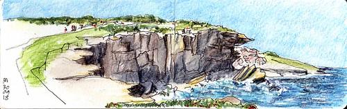 seascape coogee clifftop pencilinkwash sydney