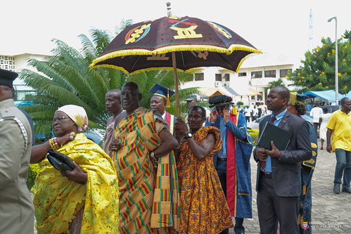 Osabarima Kwesi Atta II, Omanhen of Oguaa Traditional Area (in Kente under the umbrella) being processed with other dignitaries to the congregation venue