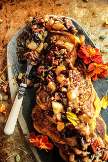 Pumpkin Pancakes with Maple Caramelized Pecans, Apples and Cranberries- Vegan and Gluten-Free | by Heather Christo