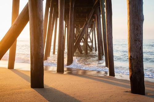 beach landscape sunrise ocean pier belmar newjersey unitedstates us