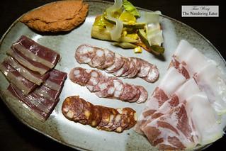 House made charcuterie - duck speck, nduja, coppa seca, Spanish chorizo, Negroni salami, Fuet salami | by thewanderingeater