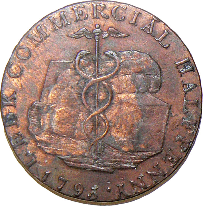 Provincial Token - Halfpenny - from Leek, Staffordshire, 1793 (Obverse) (29mm dia)