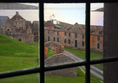 A window looking out over Charles Fort in Kinsale, Ireland