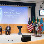Thu, 09/20/2018 - 14:36 - On Thursday, September 20, 2018, the William J. Perry Center for Hemispheric Defense Studies honored General Salvador Cienfuegos Zepeda, Secretary of National Defense of Mexico, and Escola Superior de Guerra (ESG), National War College of Brazil, with the 2018 William J. Perry Award for Excellence in Security and Defense Education. Named after the Center's founder, former U.S. Secretary of Defense Dr. William J. Perry, the Perry Award is presented annually to individuals who and institutions that have made significant contributions in the fields of security and defense education. From the many nominations received, awardees are selected for achievements in promoting education, research, and knowledge-sharing in defense and security issues in the Western Hemisphere. Awardees' contributions to their respective fields further democratic security and defense in the Americas and, in so doing, embody the highest ideals of the Center and the values embodied by the Perry Award.