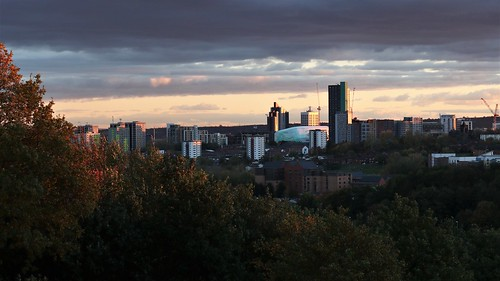 sunset city sky dusk clouds building tower trees leeds west yorkshire