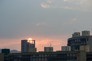Sunset behind Apartment Tower and the Guomao Community in Kaohsiung