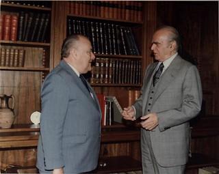 Prime Minister Robert Muldoon meeting President Konstantinos Karamanlis of Greece, 1983